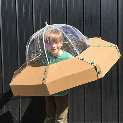 DIY Cardboard spaceship (UFO) costume - free template