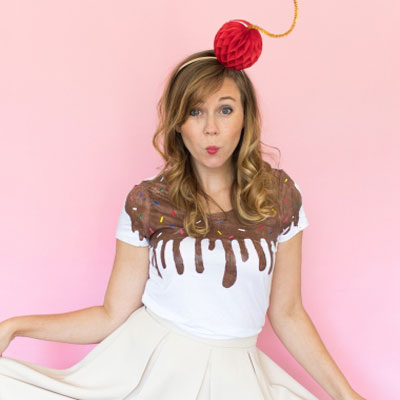 Adorable ice cream costume with fabric pains