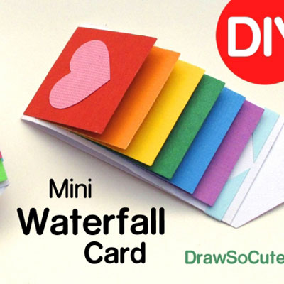DIY Waterfall message card (flip card)