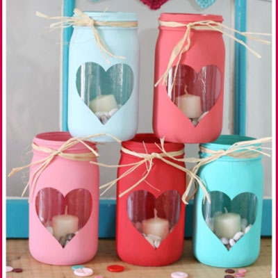DIY Easy Valentine luminaries from mason jars