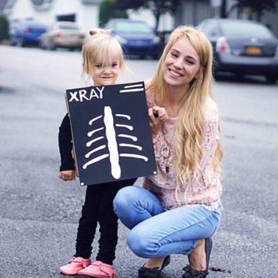 DIY X-ray cardboard box costume - easy Halloween costume for kids