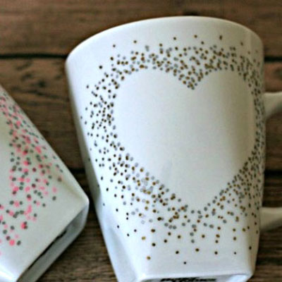 Easy DIY confetti painted heart mug - Valentine's day gift