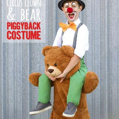 DIY Circus clown and bear piggyback costume (sewing tutorial)