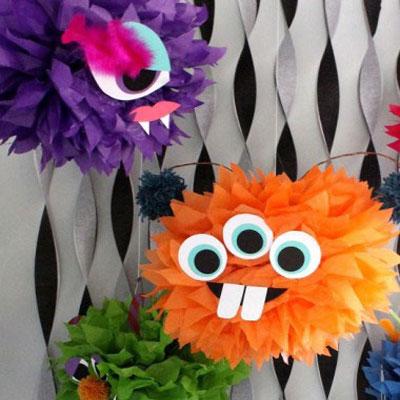 Tissue paper pom pom monsters