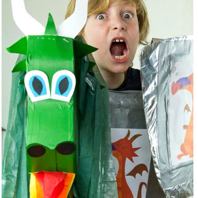 DIY Knight costume with dragon hobby horse