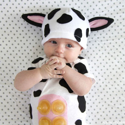 DIY Cow costume for babies - free sewing pattern