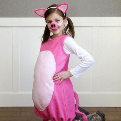 DIY Felt pig costume for kids - costume making tutorial