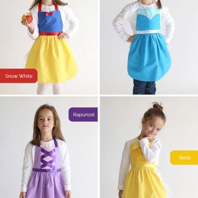 DIY Apron costumes - Rapunzel, Snow White, Belle & Elsa