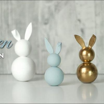 Easy DIY Styrofoam ball bunny - Easter decoration