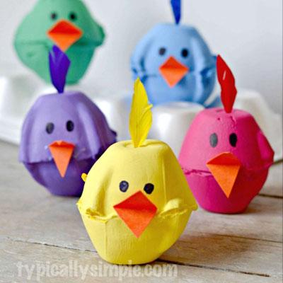 Easy DIY egg carton chicks - Easter craft for kids