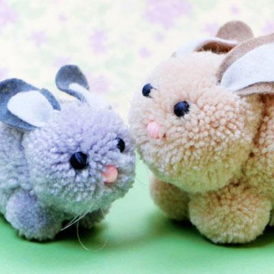 DIY Pompom bunny - easy Easter yarn craft for kids