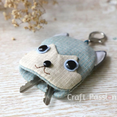 DIY Puppy key pouch - syberian husky (free sewing pattern)