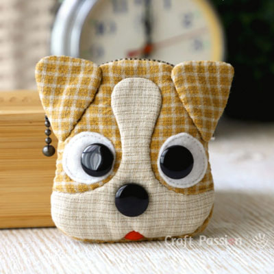 DIY Dog coin purse - Jack Russell Terrier (free sewing pattern)