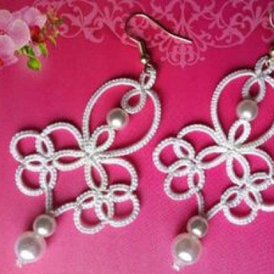 Elegant white tatted earring (  step-by-step tatting tutorial )
