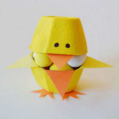 Candy filled easter egg carton chicks