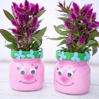 DIY Troll mason jar planter - Trolls craft