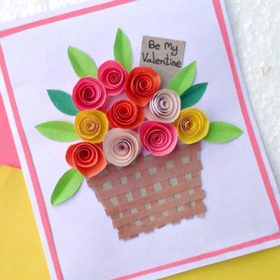 DIY Rolled paper roses - easy Mother's day card