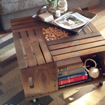 DIY Vintage wine crate coffee table - woodworking