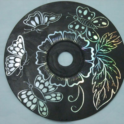 DIY CD Scratching art - easy recycling craft for kids