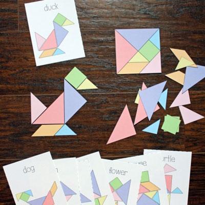 DIY paper puzzle game - free printable tangram & challenge cards