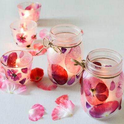 Easy DIY flower petal candle holder - spring homer decor