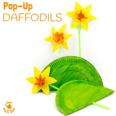 Pop up daffodil flower craft - fun spring craft for kids
