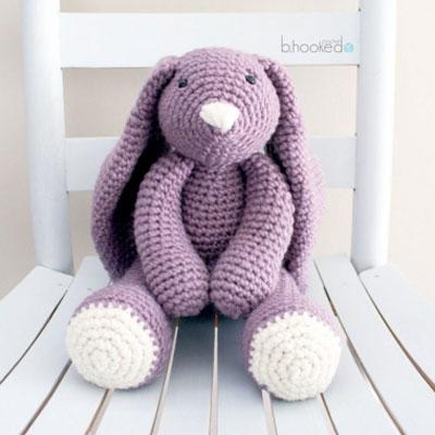 Big purple crochet bunny (amigurumi bunny) - free crochet pattern