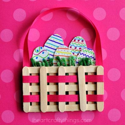 Easy DIY craft stick Easter basket - Easter craft for kids