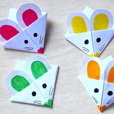 DIY mouse corner bookmark- easy paper craft for kids