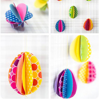 Colorful 3D paper eggs