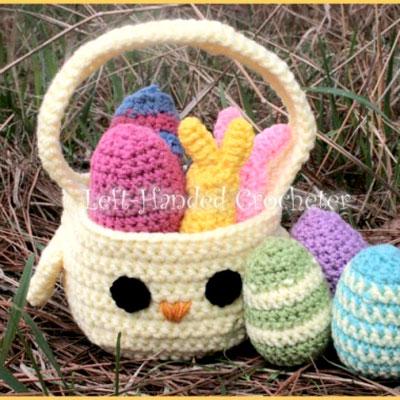 DIY Crochet chick Easter basket - free crochet pattern
