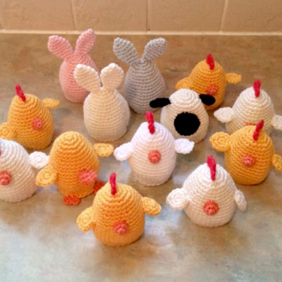 Crochet chocolate Easter egg cover (bunny & chick) - free amigurumi pattern
