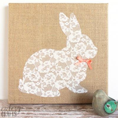 DIY Lace & burlap bunny wall art - vintage Easter decor