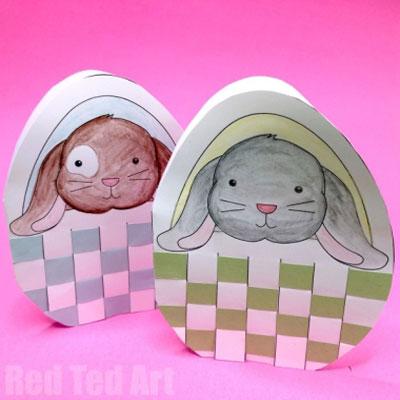 DIY Adorable Easter bunny card with woven basket - free printable