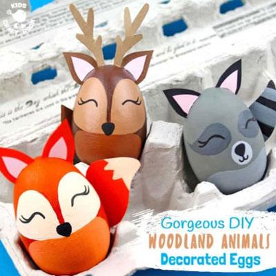 DIY woodland animal Easter egg - egg painting tutorial