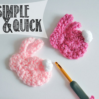 Easy & quick crochet bunny applique - free crochet pattern