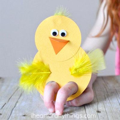 Paper chick finger puppet - easy Easter craft for kids