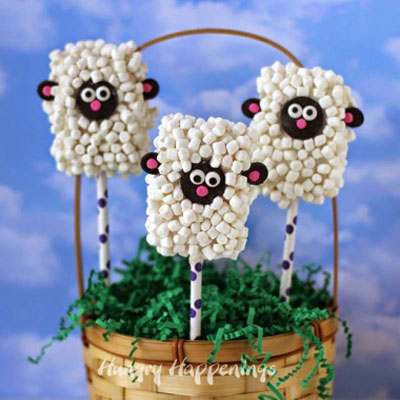 DIY Rice Krispies treat lamb pops - Easter party treats