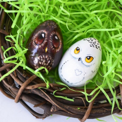 DIY Owl Easter eggs ( step-by-step egg painting tutorial)