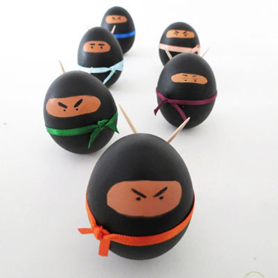 DIY Ninja Easter egg - fun egg painting idea for kids