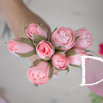 DIY Crepe paper rosebud bouquet - spring flower decor