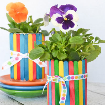 DIY Craft stick covered tin can flowerpots - recycling craft for kids