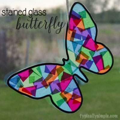 DIY Stained glass butterfly - spring window decor