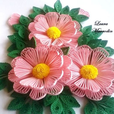Quilled flowers - Husking technique