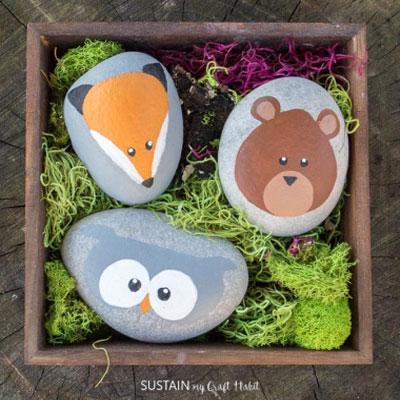 DIY Rock woodland animals - rock painting for kids