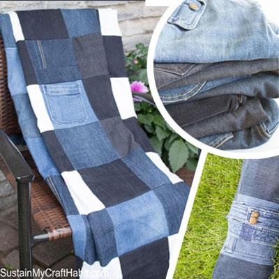DIY Checkered repurposed denim picnic blanket