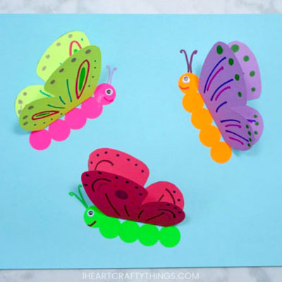 3D Butterfly card - easy spring craft for kids