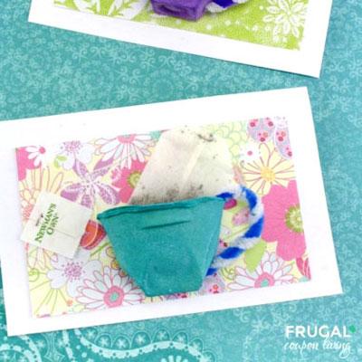 DIY Egg carton tea cup Mother's day card craft with tea bags