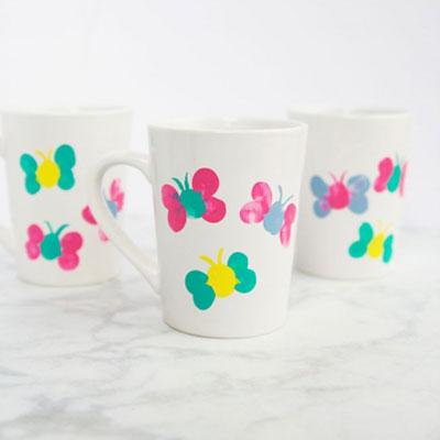 DIY Thumbprint butterfly mugs