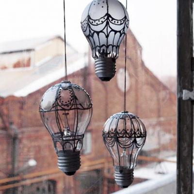 DIY Light bulb hot air balloon - recycling craft